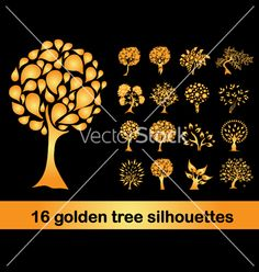 16 golden tree silhouettes vector 977359 - by Chantall on VectorStock®