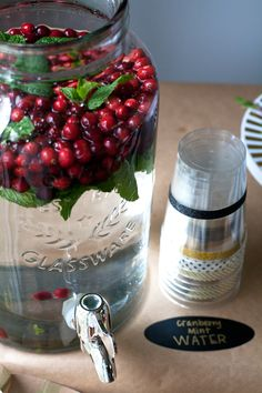 Infuse a jug of water with mint and cranberry, it's a refreshing alternative to sugary drinks!