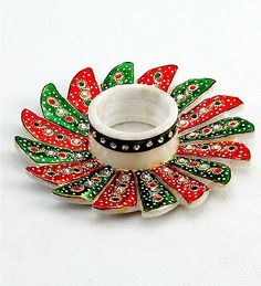Green and Red Marble Candle Holder studded with...