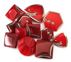 Czech Art Deco glass buttons in a lovely cherry red with silver details, 14mm - 26mm