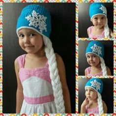 Finally I manage to crochet this lovely Elsa's Frozen Hat to my Ailene. She is over the moon. I pinned free pattern long ago. Its on my crochet board.