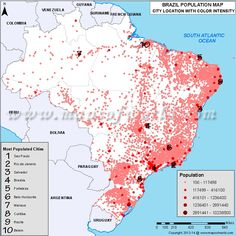 Map of Most Populated Cities in Brazil