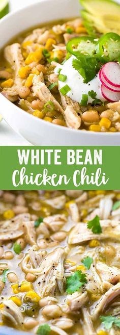 White bean chicken chili simmered in a crockpot with whole roasted jalapenos, tender beans, corn, and lean chicken breast. A healthy recipe pack with flavor and spice. via @foodiegavin