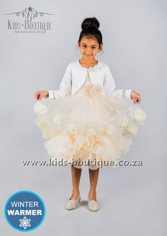 Cream Layered Dress With Flowers - Jacket Sold Separately Kids Boutique, Winter Warmers, Flower Girls, Flower Dresses, Birthday Parties, Girls Dresses, Ballet Skirt, Party Ideas, Cream