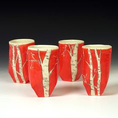 Josie Jurczenia :: Hand built Tea tumblers with underglaze and Mishima  birch tree decoration