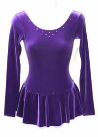 Skating Dress Mondor Long Sleeve Purple Velvet Dress with a Few Swarovski Stones  Color: Purple  Size: Youth Junior 14-16