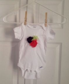 Pink and Eggplant Chiffon Rosette Onesie 12 by ILiveToLoveYou, $12.00