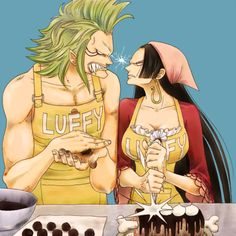 Bartolomeo and Hancock competing for Luffy's love lol
