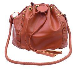 Laser-Cut Braided Tassel Bucket Bag (57 RON) ❤ liked on Polyvore featuring bags, handbags, shoulder bags, brown, vintage purses, vintage shoulder bag, red bucket bag, shoulder bag purse and brown purse