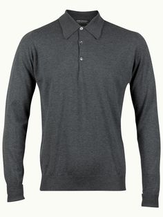 John Smedley Finchley Long Sleeve Polo Shirt - Charcoal - Available to buy at http://www.afarleycountryattire.co.uk/product-tag/john-smedley-finchley-long-sleeve-polo-shirt/ #johnsmedley #mensfashion #poloshirt #afarleycountryattire