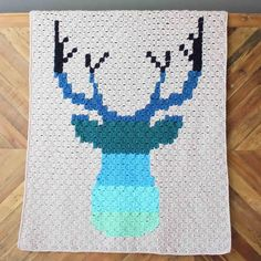 Hello ombre! This corner to corner crochet deer afghan will be a hit with your favorite baby, hipster or hunter! This ad-free, printable crochet pattern includes the pixel graphs to crochet two different sized blankets--a baby afghan or a larger throw.Also included is a row-by-row written pattern for both blanket sizes, which is very helpful in keeping track of where you're at in the graph (and avoiding mistakes!)If you're new to the corner to corner crochet technique, this 21 page PD...