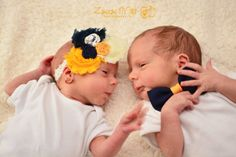 Beautiful Headband and matching Bow Tie for Little Twins