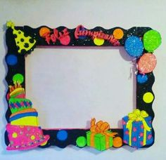 Cumple Party Photo Frame, Party Frame, Photo Frame Prop, Foam Crafts, Preschool Crafts, Diy And Crafts, Crafts For Kids, Girl Birthday Decorations, School Decorations
