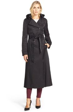 DKNY Hooded Double Breasted Maxi Trench Coat available at #Nordstrom