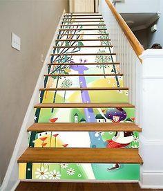 Stair Art, Stair Decor, Photo Wall Stickers, Wall Stickers Room, Forest Wallpaper, Vinyl Wallpaper, Cartoon Giraffe, 3d Cartoon, Decoration Photo