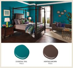 The vividness of Essential Teal is grounded with a dark chocolate, Heritage Oak, found in the furnishings and flooring. - See more at: http://colorfullybehr.com/index.php/2015-color-trends/#sthash.iFvvAfZt.dpuf