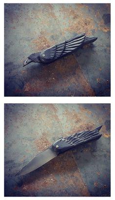 raven folder Pocket Knives, Raven, Ravens, Folding Knives, The Raven, Custom Knives