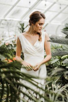 Greenhouse bridal portrait by Hannah Fey Photo