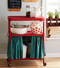 25 Awesomely Creative Ways To Use A Bar Cart - Make a curtain for the bottom tier to hide unsightly kitchen necessities. Furniture Makeover, Diy Furniture, Painted Furniture, Furniture Assembly, Painted Floors, Classic Furniture, Plywood Furniture, Upcycled Furniture, Modern Furniture
