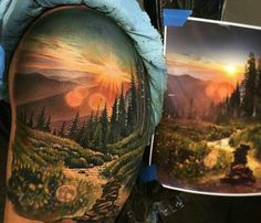 The post Amazing artist Jesse Rix forest redwoods mountain scene arm tattoo! @ appeared first on Best Tattoos. Arm Tattoo, Natur Tattoo Arm, Natur Tattoos, Nature Tattoo Sleeve, Sleeve Tattoos, Tattoo Nature, Tattoo Dad, Tattoos A Color, Body Art Tattoos