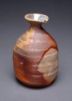 Wood Fired Brown and Orange Nigo Tokkuri Japanese by YuishCeramics, $30.00