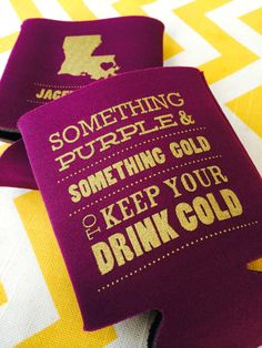 Something Purple and Something Gold to Keep your Beer Cold, LSU Tiger Koozies, Louisiana Game day koozies, by RookDesignCo. Starting at $79