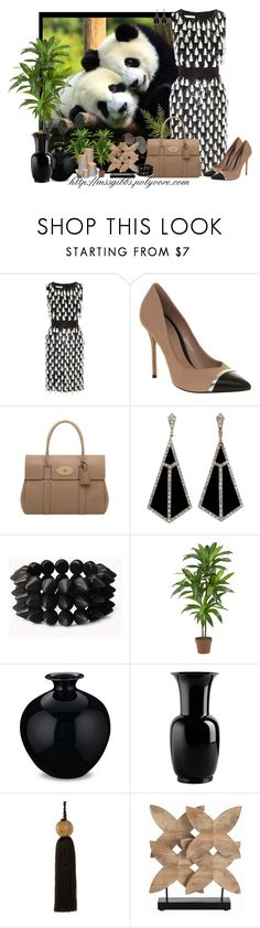"""""""Pandas"""" by mssgibbs ❤ liked on Polyvore featuring Panda, Oscar de la Renta, Office, Mulberry, Forever 21, Nearly Natural, Williams-Sonoma, Venini, Zara Home and Barclay Butera"""