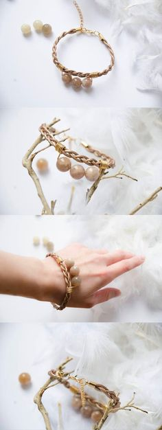 Leather contemporary simple handmade bracelet 2017 with stones__Handmade item Primary colour: Copper Secondary colour: Gold Materials: leather, stones ___Jewellery  minimal chic  real gemstones  Beaded Bracelets  Jewellery  elegant accessory  Bracelets  gift for women  cozy style beads  trend 2017  contemporary  metallic leather  beaded bracelet___