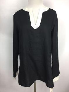 LAUREN RALPH LAUREN LRL Womens Tunic Top Black White 100% Linen V-Neck Sz S  | eBay