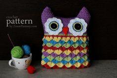Crochet Pattern  Crochet Owl Cushion With Colorful di ZoomYummy