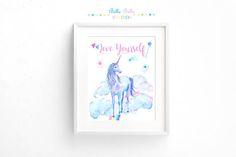 Printable Love Yourself Unicorn Print 8x10 by BellaBellaStudios