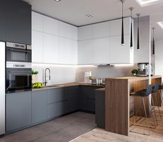 If you are looking for Minimalist Kitchen Design Ideas, You come to the right place. Below are the Minimalist Kitchen Design Ideas. Kitchen Room Design, Luxury Kitchen Design, Kitchen Cabinet Design, Living Room Kitchen, Home Decor Kitchen, Kitchen Layout, Interior Design Kitchen, New Kitchen, Home Kitchens