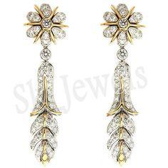 1.85CT NATURAL DIAMOND 14K YELLOW GOLD WEDDING ANNIVERSARY DANGLER EARRING  #SK_Jewels #DropDangle