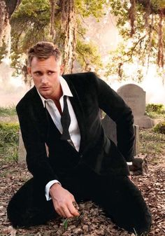 Alexander Skarsgard., just chillin' in the graveyard after a hard night of partying with his homies.