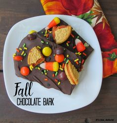 This Fall Chocolate Bark is easy to make with Pumpkin Spice Oreos, candy corn and Reece's Pieces surrounded by semi-sweet chocolate.