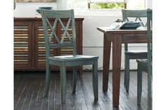 Crafted in a timeless design, the Mestler side chair is a versatile seat for any dining room, breakfast nook or kitchen desk. The wonderful finish has a much-loved, timeworn patina right from the start. Open Xs define the slightly angled back.