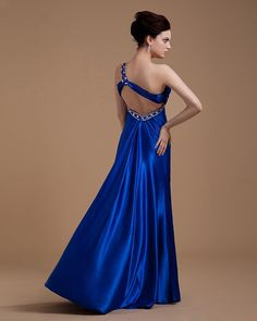 One Shoulder Elastic Satin Beading Ankle Length Evening Dress  Read More:    http://www.weddingscasual.com/index.php?r=one-shoulder-elastic-satin-beading-ankle-length-evening-dress.html