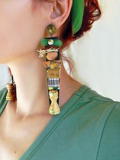 Oversized Steampunk Earrings Huge Earrings, Unusual and Quirky Jewelry Leather and Fabric Post Earrings, Upcycled Jewelry Long Earrings