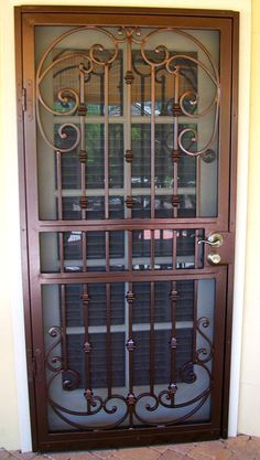 Security Screen Doors : Great Gates and Whiting Iron in Phoenix AZ Security Screen, Security Door, Window Grill, Welding Jobs, Copper Decor, Iron Work, Iron Gates, Entry Doors, Fences
