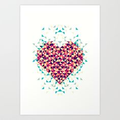 A heart is made of bits and pieces Art Print by VessDSign - $16.50