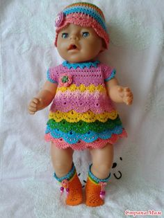Tęczowy strój dla Babiku. - Szafa dla lalek - Country of Moms Crochet Dolls, Crochet Hats, Baby Born, Country, Fashion, Dresses, Clothing, Baby Dolls, Wrist Warmers