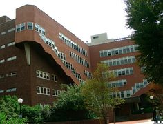 Alvar Aalto (1898-1976) built this dormitory, Baker House, for MIT in Cambridge Massachusetts in 1947-49; this view shows the rear of the building, with the stairways rising above main entrance