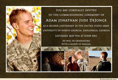 Custom Four Photo Army Commissioning Ceremony Invitation Design