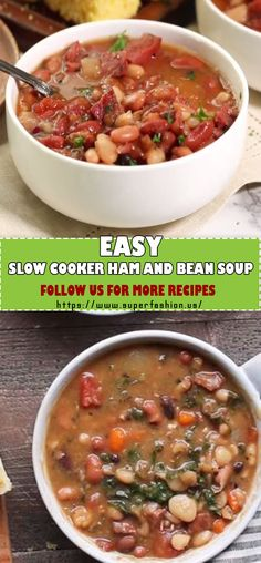 slow cooker ham and beans soup Ham And Beans, Ham And Bean Soup, Ham Soup, Chicken Broth Can, Low Sodium Chicken Broth, Southern Recipes, Southern Food, Crockpot White Chicken Chili, How To Cook Sausage
