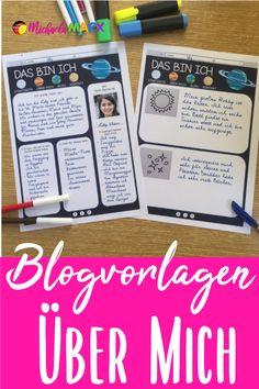 Kennenlernen nach den Sommerferien - Webseite/Blog  Das ist ein Material zum Kennenlernen nach den Sommerferien. Die Vorlagen sind wie Webseiten oder Blogs aufgebaut. Die SchülerInnen haben hier ausreichend Platz, um etwas über sich zu schreiben und eine eigene Seite zu gestalten.  Damit sich jeder angesprochen fühlen kann, gibt es zehn unterschiedliche Designs für jeden Geschmack.  Back to School Nach den Sommerferien Kennenlernen in der neuen Klasse  #lehrermarktplatz #schulstart… German Resources, Designs, Blog, Teaching Materials, Agriculture Farming, New Class, School Social Work, Home Economics