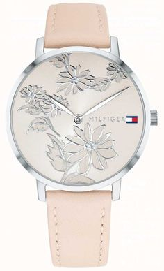 Tommy Hilfiger Pippa Pink Floral Silver Print Dial Pink Nude Leather Strap  1781919 - First Class Watches™ 0745814c720