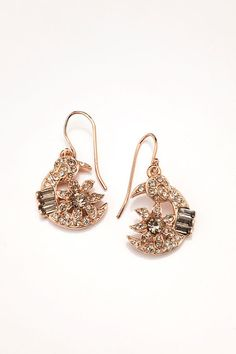 Rose Gold and Crystal Half Moon Earring, French Wire Dangle