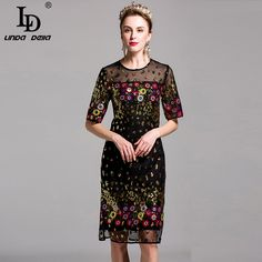 Summer New Sexy Dress Women's Half Sleeve Lace Tulle Gold Sequined Embroidery Sheath Bodycon Midi Retro Vintage Dress vestidos