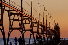 South Haven Pierhead Light and Catwalk at Sunset, Lake Michigan, South Haven, Michigan