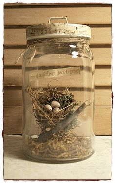 35 Easy DIY Bird Nest Decorations For A Beautiful Easter Here, we share with you some of the easiest DIY bird nest decorations. Adorable to look at, these nests would surely add colors to your Easter celebration. Mason Jars, Bottles And Jars, Mason Jar Crafts, Glass Jars, Bird Nest Craft, Bird Nests, Deco Nature, Decoration Plante, Jar Art